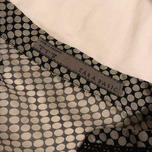 Zara Tops - Sheer black & white Polka Dot button down blouse